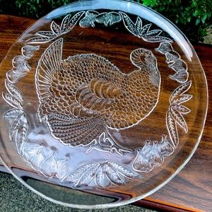 Vintage Beautiful Serving Dish with Turkey Design